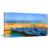 blue boats in sea seascape painting canvas print PT7618