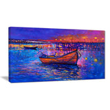 boats and the city seascape painting canvas print PT7619