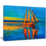 brown sailing boat seascape painting canvas print PT7623