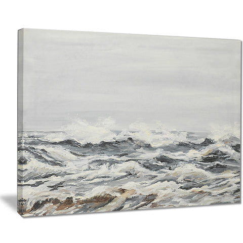 grey sea waves seascape painting canvas print PT7625