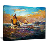 boats in roaring sea seascape painting canvas print PT7626