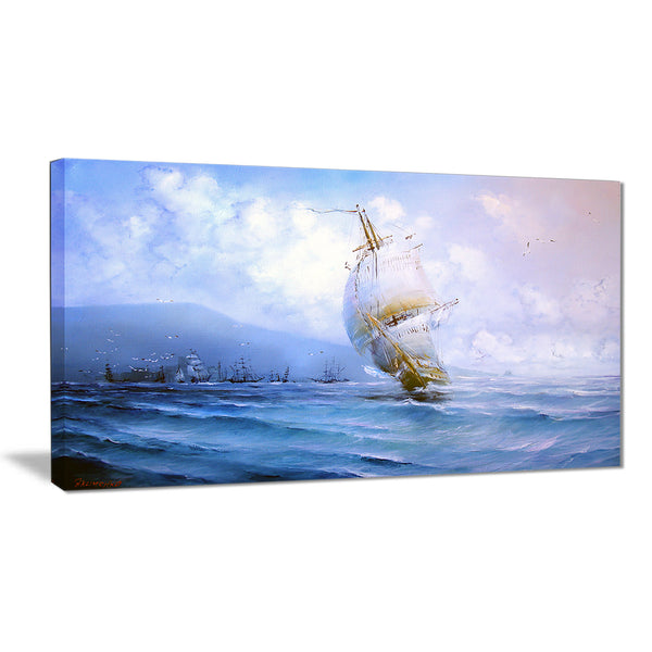 vessel in blue sea seascape painting canvas print PT7627