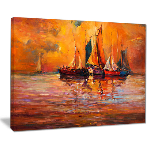 boats and ocean in red seascape painting canvas print PT7632