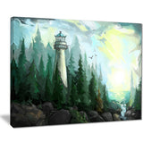 landscape with river and trees modern painting canvas print PT7635