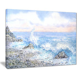 blue watercolor waters seascape canvas art print PT7636