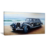 retro car on sea shore car painting canvas print PT7637