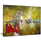 human and dragon fly abstract digital art canvas print PT7642