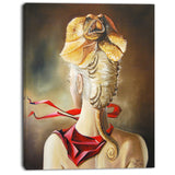 girl with surreal hat portrait digital art canvas print PT7643