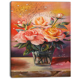 roses on marble table floral digital art canvas print PT7653