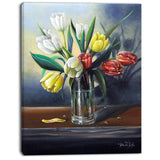 red white yellow tulips floral painting canvas print PT7656
