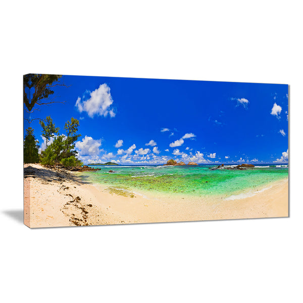 tropical beach with green sea landscape photo canvas print PT7664