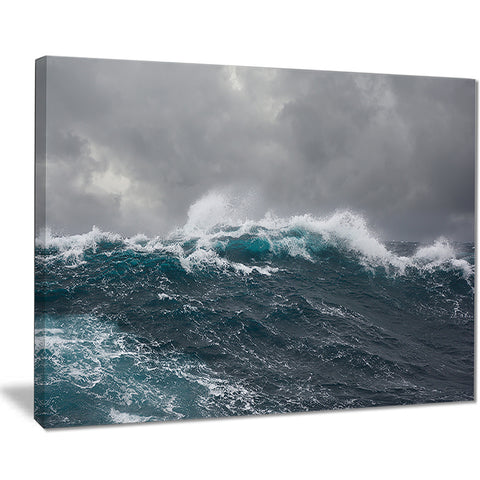 roaring waves under cloudy sky seascape canvas print PT7665