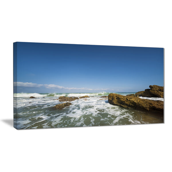sea with white waves seascape photo canvas print PT7669