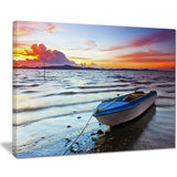 boat at the sunset landscape photo canvas print PT7674