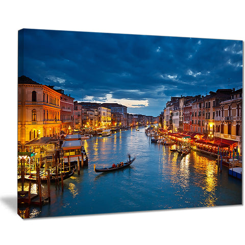 grand canal at night venice cityscape photo canvas print PT7685