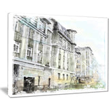 watercolor dark illustration cityscape painting canvas print PT7688