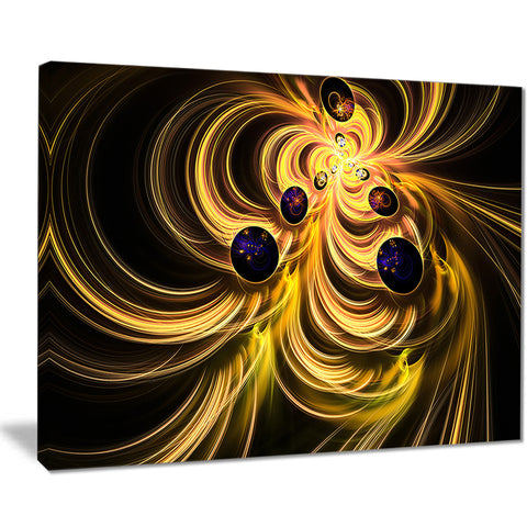 yellow fractal flames abstract digital art canvas print PT7698