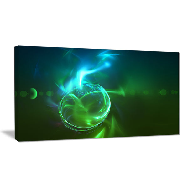 glowing green circles abstract digital art canvas print PT7716