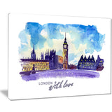 london purple illustration cityscape painting canvas print PT7756
