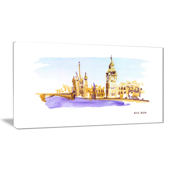 london brown illustration cityscape painting canvas print PT7760