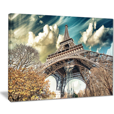street view of eiffel tower cityscape digital art canvas print PT7767
