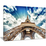 eiffel tower with fast moving clouds photography canvas print PT7777