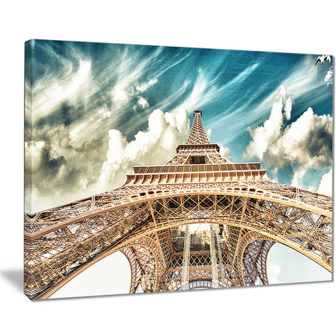 eiffel tower under blue sky photography canvas art print PT7778