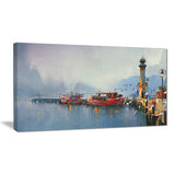 fishing boats in harbor landscape painting canvas print PT7783