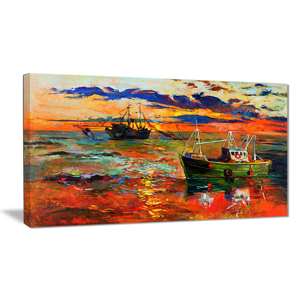colorful fishing ships seascape painting canvas print PT7784