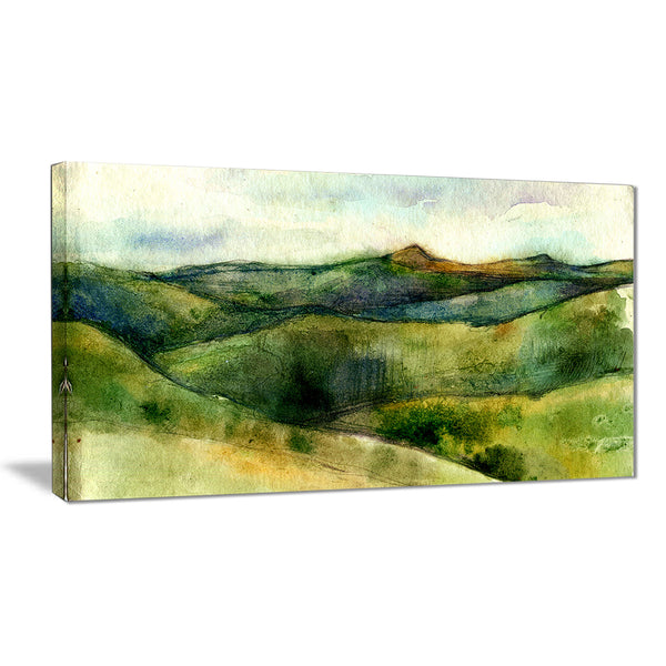 green mountains watercolor landscape painting canvas print PT7788