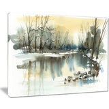 river in winter landscape painting canvas art print PT7790