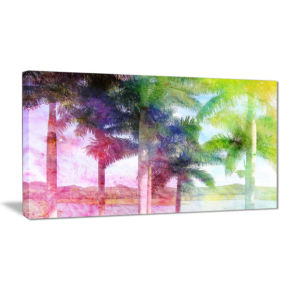 green retro palm trees landscape painting canvas print PT7798