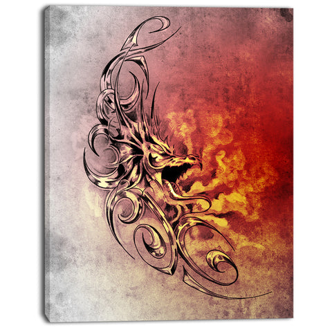 medieval dragon tattoo sketch digital art canvas print PT7809