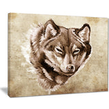 wolf head tattoo sketch digital art canvas print PT7819