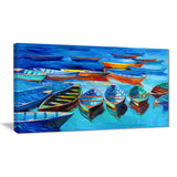 boats in blue sea seascape painting canvas print PT7826