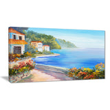 house near blue sea landscape canvas art print PT7830
