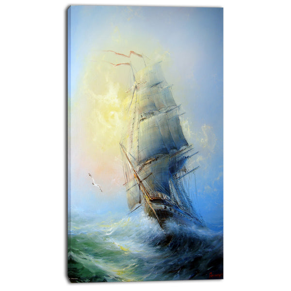 large sailing boat seascape painting canvas print PT7832