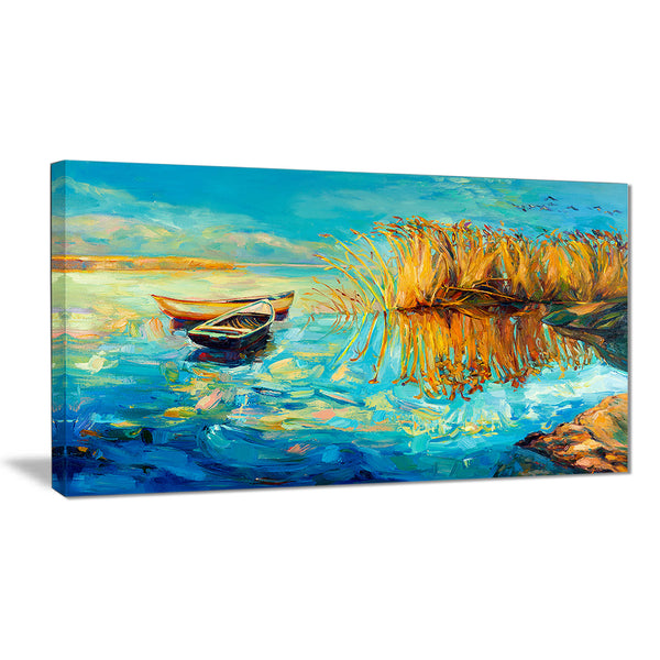 colorful lake with boats seascape painting canvas print PT7833