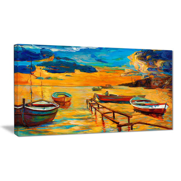 boats in beautiful sea seascape painting canvas print PT7837