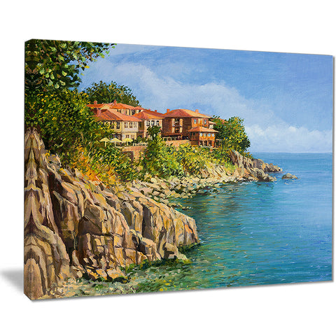 blue summer sea landscape painting canvas art print PT7838
