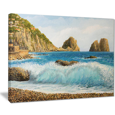 faraglioni on island capri seascape painting canvas print PT7839