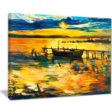 boat and pier in yellow shade seascape painting canvas print PT7846