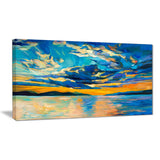 orange sunset with blue sky modern painting canvas print PT7847