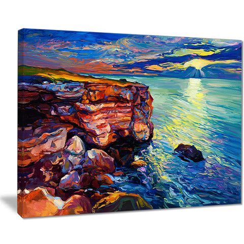 beautiful ocean and cliffs seascape painting canvas print PT7853
