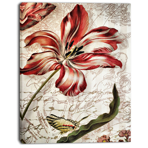 red floral pattern with butterfly floral digital art canvas print PT7859