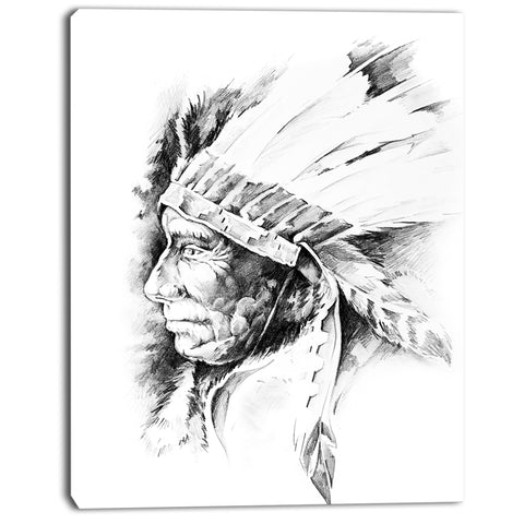 american indian head tattoo black and white digital art canvas print PT7899
