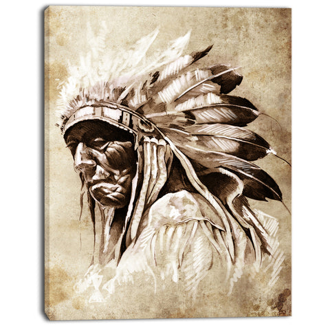 vintage style indian head tattoo digital art canvas print PT7900