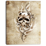 vintage style skull devil tattoo digital art canvas print PT7901
