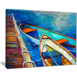 boats and pier in blue shade seascape painting canvas print PT7904
