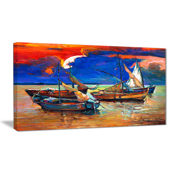 fishing boats under blue sky seascape painting canvas print PT7905